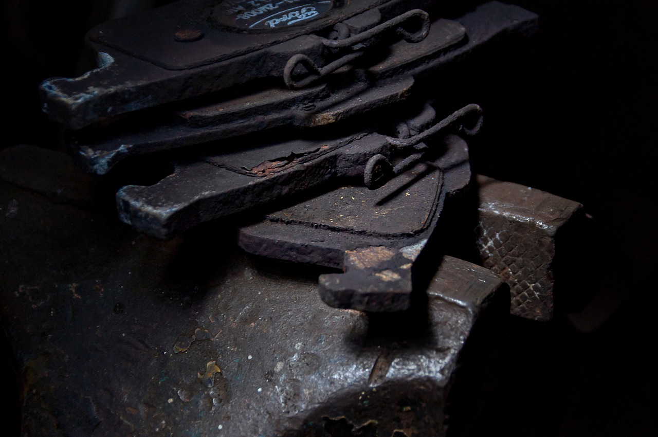 old brake lining and pads